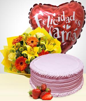 Combo Feliz Día Mamá Pastel Bouquet Y Globo Día De La Madre